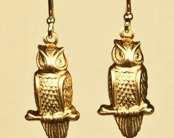 Owl Earrings set on Goldfill