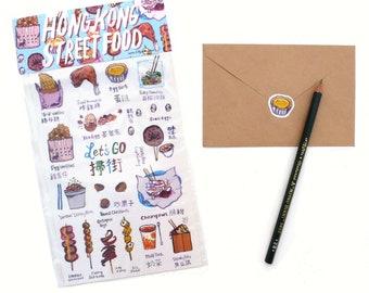 """Gloss Sticker Sheet Pack - Hong Kong Street Food Illustration 5"""" x 8"""""""