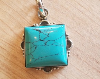 30% OFF NOW Square and sweet looking Turquiose pendant,  set in Sterling Silver
