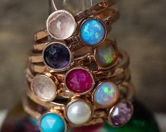 MEMORIAL DAY SALE Rose Gold Stacking Rings, Birthstone Stacking Rings, Stacking Rings, Rose Gold Rings, Pink Gold Rings, Dainty Rings, Stack