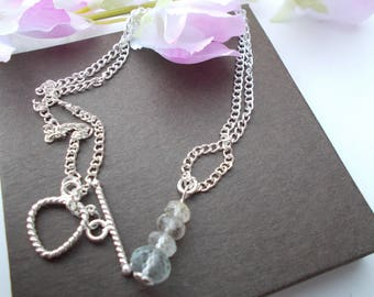Aquamarine necklace , gemstone necklace , silver plated necklace ,birthstone jewelry , aquamarine jewelry , march birthstone , aquamarine