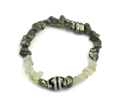 Stretch Bead Bracelet in Pyrite Nuggets, Earthy Quartz and Black and Cream Dzi Bead / Positive Energy Jewelry
