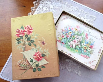 Vintage  Greeting Cards UNUSED   Birthday Wishes  Floral Birthday Card - set of 15.