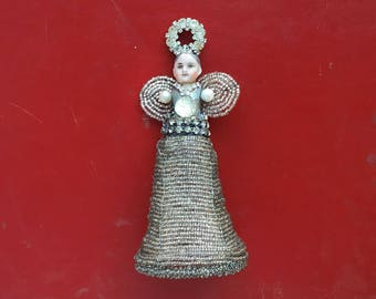 handmade Christmas ornament, angel ornament, mixed media assemblage art doll, tree bling, beaded skirt doll ornament, by Elizabeth Rosen
