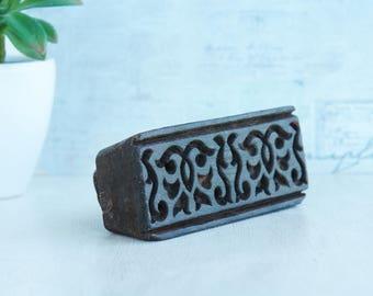 Vintage Antique Indian Hand Carved Textile Stamps wood printing block.