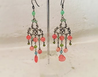 Rose quartz chandelier earrings