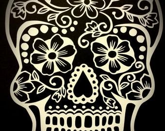 Floral Sugar Skull Decal