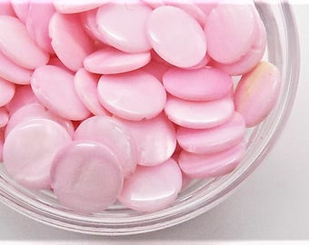 Pink shell coin beads; pretty in pink, smooth round coin beads, 10x2mm, 14pcs/3.20.