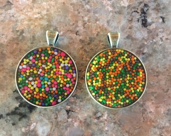 Sprinkle resin necklace charms/pendants