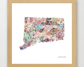CONNECTICUT MAP print, Connecticut painting, map of Connecticut, Painting of Connecticut, Connecticut poster, Giclee Fine Art, Flowers
