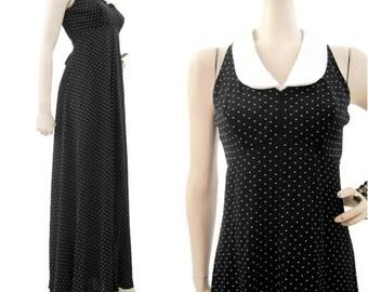 Vintage 70s Dress Dolly Empire Waist Maxi Wednesday Addams S M