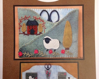 Tri Fold Needle Minder and Scissor Pattern Wool Appliqué and Embroidery North Catolina Quilts