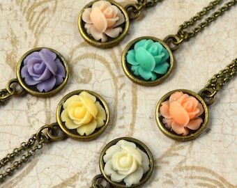Rose Necklace Boho Chic Antique Bronze Pastel Bohemian Pendant Peach Lavender Ivory Mint Yellow Simple Flower Fashion Jewelry Free Shipping