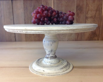 """CAKE STAND  Shabby 13.3"""" 34cm white, solid wood"""