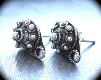 Decorative Balinese Style Earring Posts with closed jumpring attachment STERLING SILVER  9mm