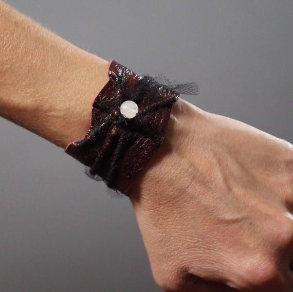 Burgundy Leather Cuff Bracelet - Leather Cuff Bracelet - Leather Cuff - Leather Accessories - Handmade Leather Cuff