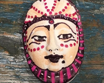 clay face jewelry craft supplies  handmade cabochon black and purple woman  mask  polymer  findings   doll parts head mask stripes tribal