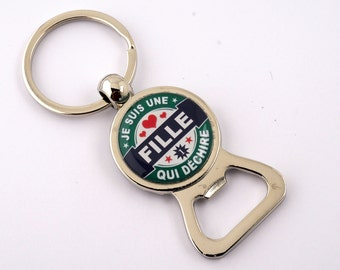 "Keychain/bottle opener for the ""girl who rocks"""