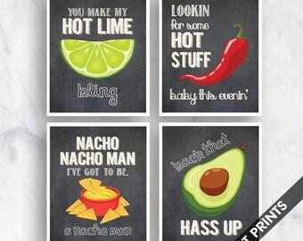 Bling, Hot Stuff , Nacho Man, Avocado (Funny Kitchen Song Series) Set of 4 Art Prints (Featured in Vintage Chalkboard) Kitchen Art