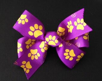 LSU Hair Bow ~ LSU Tiger Pinwheel Hairbows Tiger Paw Print Ribbon Louisiana