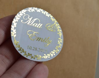 Personalized Wedding Stickers Gift Packaging Foil Stickers  Custom Wedding Stickers Product Labels Simple Thank You Wedding Favors Stickers