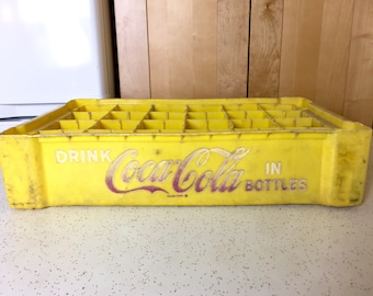 Vintage Yellow  Plastic Coca Cola Crate, Plastic Coke Box, Advertising from 1950s, Coke Collector