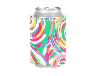 Monogram Drink Wrap Cozie Koozie, mulit-color