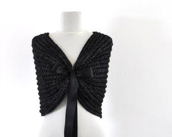 Black Bridal Cape Wedding Wrap Bridal Shrug with Ribbon Chic Romentic Elegant