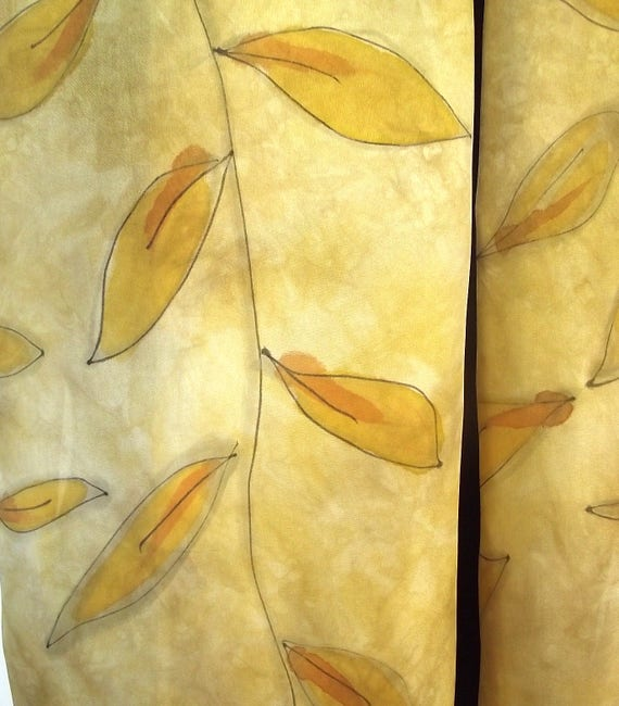 """Hand Painted Silk Habotai Scarf /  Wrap,  Dyed in Golds and Bronze with Painted Leaves with Grey and Black Outlines, 14 x 72"""""""