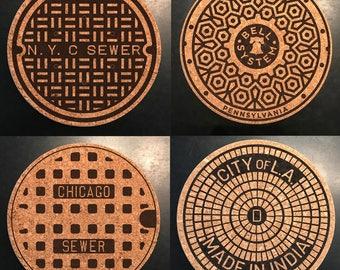 Under Cover: Manhole Cover Cork Coasters America Coast to Coast-NYC, Philly, Chicago, LA