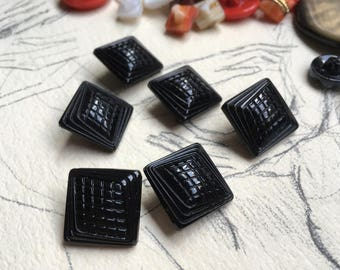 6 square glass buttons - vintage buttons - victorian black glass (099)