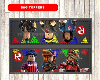 Roblox Chalkboard Bags toppers, printable Roblox bags toppers, Chalkboard Roblox treat bags- Instant download