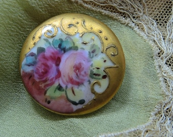 Vintage Porcelain Button, Hand Painted Roses, Victorian China Stud Button, Gold Border,