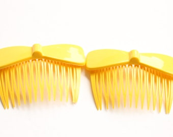 Vintage Yellow Hair Combs, Hair Accessories, Set of Two Hair Combs, Retro Hair Combs, Circa 1970's