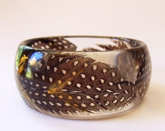 Eco resin bangle with feathers and gold chevrons - ready to ship