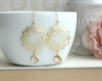 Peach Earrings, Moroccan Earrings Boho Chandelier Earrings  Peach Wedding Earrings Maid of Honor. Bridesmaids Gift, Peach Wedding Earrings