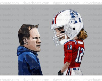 New England Patriots Coach, Bill Belichick and QB, Tom Brady Art Photo Print. Stocking Stuffer.