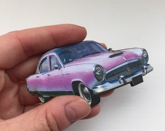 American Purple 1950s 1960s Car Retro Brooch Pin Up Outfit Accessory Rockabilly Wooden Brooch Birthday Gift Wood Present Unique for Her