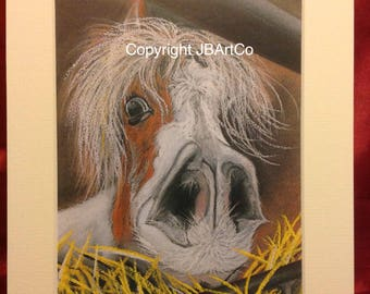 Horses head in the hay - mounted print