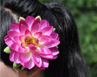 Pink WaterLily Flower clip Pinup
