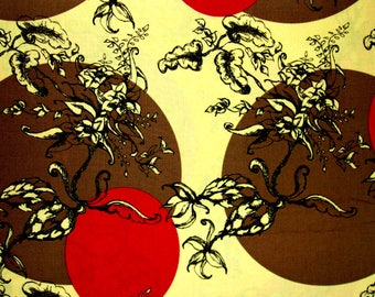 SuperbeTissu Patchwork Oriental fond jaune vanille, cercles bruns et rouges