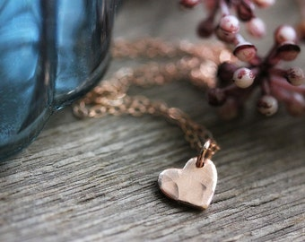 Tiny Heart Charm Necklace, Rose Gold Filled Chain, Simple Everyday Jewelry