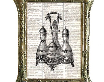 CRUET SET salt pepper shakers art print Victorian kitchen dining wall decor on vintage dictionary book page black white illustration 8x10