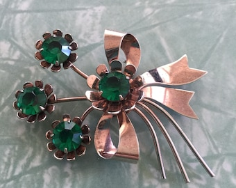 Sterling Silver and Green Stone Vintage Brooch
