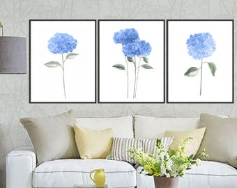 Set of 3 hydrangea watercolor art print hydrangea painting, Flower painting, Floral art print, Botanical art