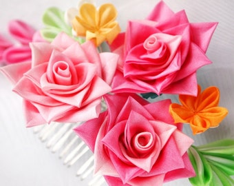 Clearance US Free Shipping Only Hand Dyed Silk Pink Rose Kanzashi Flower Comb Was 110