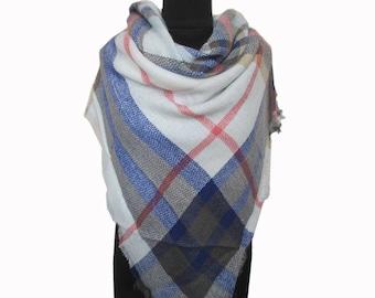 Blue Plaid Scarf, Tartan Scarf, Checkered Shawl, Blue Blanket Scarf, Christmas Gifts for Mom, Autumn Scarf, Wrap Shawl, Plaid Fall Scarf