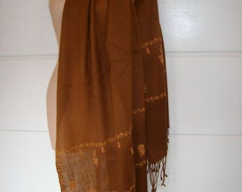 Brown Hand Embroidered Long Fringed Ombre Soft Wool Vintage Shawl/Scarf/Wrap