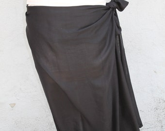 Black color-Pareo-solid color-full and half sized-rayon- sarong, pareau-fringeless or fringed , Tahitian dance costume