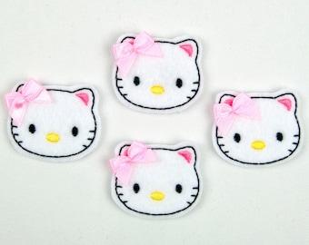 CAT - Embroidered Felt Embellishments / Appliques - White & Pink  (Qnty of 4) SCF6065
